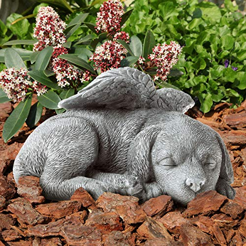 Pure Garden 50-LG1100 Memorial Statue-Sleeping Angel Dog Remembrance Keepsake Sculpture Grave Marker Stone Figurine to Honor a Cherished Pet