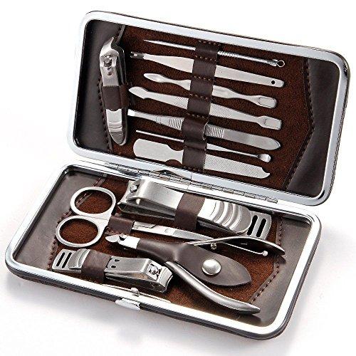 Heren Manicure Grooming Set Kit Nagel Clipper Lederen Hoesje Hot 13 Stuk Gift Set UK