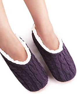VERO MONTE 2 Pairs Womens Thick & Warm Slipper Socks with Grippers - House Socks