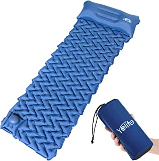 Yolife AirExpect Camping Sleeping Pad with Built-in Pump Upgraded Inflatable Camping Mat with Pillow for Backpacking, Trav...