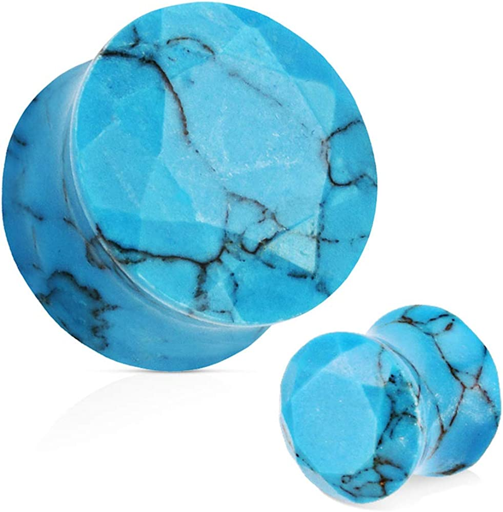 Covet Jewelry Blue Turquoise Semi Precious Stone Faceted Gem Cut Double Flared Plug