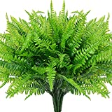 4pcs Artificial Fake Boston Fern Plastic Plants Bushes Artificial Ferns Plant for Outdoor UV Resistant (Green)