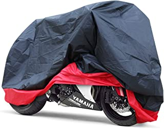 GHB Motorcycle Cover Motorbike Cover Waterproof Sun-Protective 190T Polyester Taffeta Radiation Protection fit up to 104'' Motors XXL