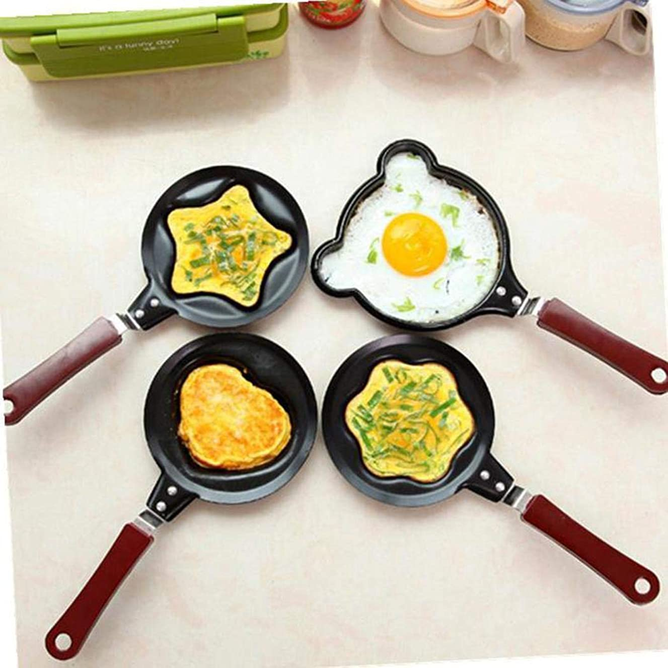 Pinsparkle Mini Egg Frying Pan Handheld Kitchen Non-Stick Omelette Pancake Molds Tool Grill Pans