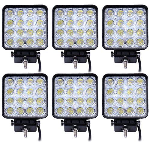 Leetop 6X 48W LED Carré Offroad Flood SUV Lumière Réflecteur Phare des Travaux Légers, UTV, Phares de Travail ATV Offroad Lampes Supplémentaires Phare 12V 24V Feu de Recul