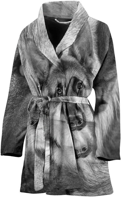 German Shepherd Black N White Print Women's Bath Robe