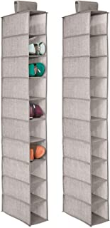 mDesign Soft Fabric Closet Organizer - Holds Shoes, Handbags, Clutches, Accessories - 10 Shelf Over Rod Hanging Storage Unit - Textured Print - 2 Pack - Linen/Tan