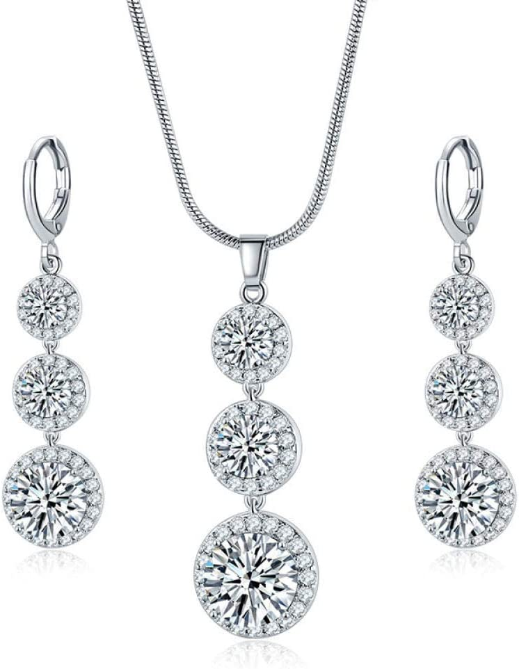 Urns Ashes Funeral Jewellery Sets Round Drop-Shaped Rhinestone Pendant Necklace Earrings Female Fashion Party Wedding Bridal Jewelry Set,Colour:F Pet Memorial Dog cat Urn (Color : B)