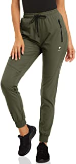 CRYSULLY Women's Pants Joggers Quick Dry Athletic Running Hiking Pants with Zipper Pockets