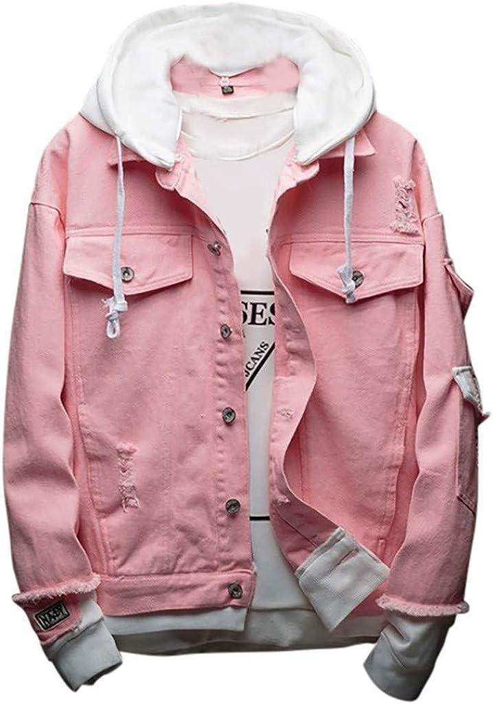 Beautyfine Men's Hoodie Jean Jacket Coat Fashion Cowboy Jacket Casual Comfortable