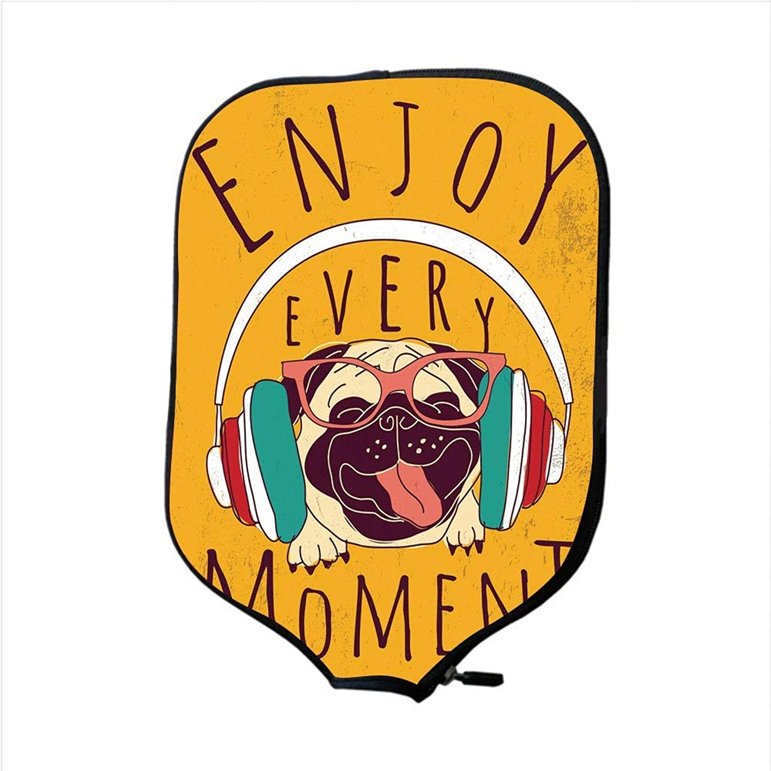 Fine Neoprene Pickleball Paddle Racket Cover Case,Pug,Happy Dog Listening Music Enjoy Every Moment Quote Funny Image Pet Animal Fun,Marigold Multicolor,Fit for Most Rackets