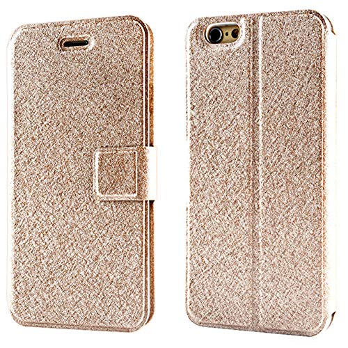 Compatible with iPhone 7, iPhone 8, PU Leather Wallet Case with Kickstand and Flip Magnetic Closure Holders Pockets Folio Drop Protection Cover for iPhone 7 (2016)/iPhone 8(2017) - Champagne