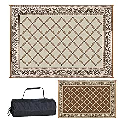 top rated Reversible 119127 Outdoor Patio Rug 9ft x 12ft Brown / Beige RV Camp Carpet 2021