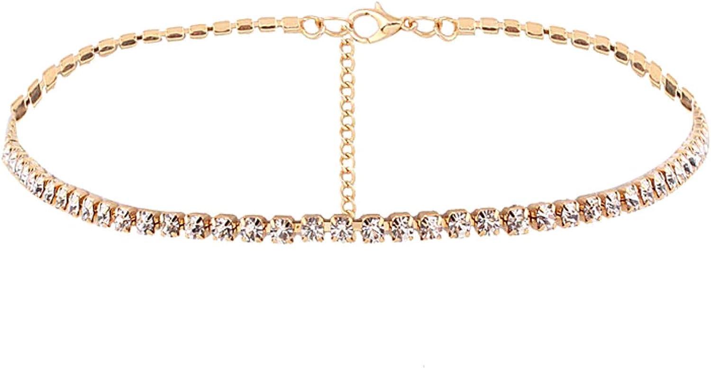 Maya's Grace Bling Women Rhinestone Diamond Choker Necklace Crystal Wide Collar Jewelry Party