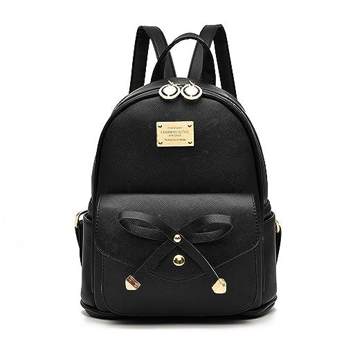 Girls Bowknot Cute Leather Backpack Mini Backpack Purse for Women c0e1aa92c3