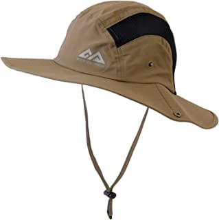 AQshop アウトドア 帽子 メンズ レディース メッシュ 日よけハット UPF50+ UVカット 折りたたみ ひも付き 撥水 男女兼用