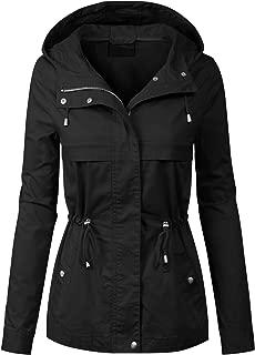 MixMatchy Women's Lightweight Front Zipper Solid Utility Anorak Hoodie Vest/Jacket