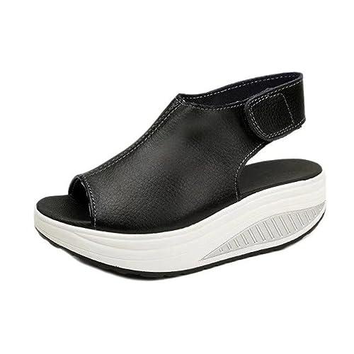53f9b8e7 Zapatos de mujer Shake Sandalias de verano de moda Zapatos de tacón bajo  grueso Sandalias casuales