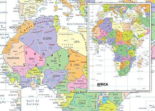 Giant Afrika politische Karte–VINYL–130x 180cm