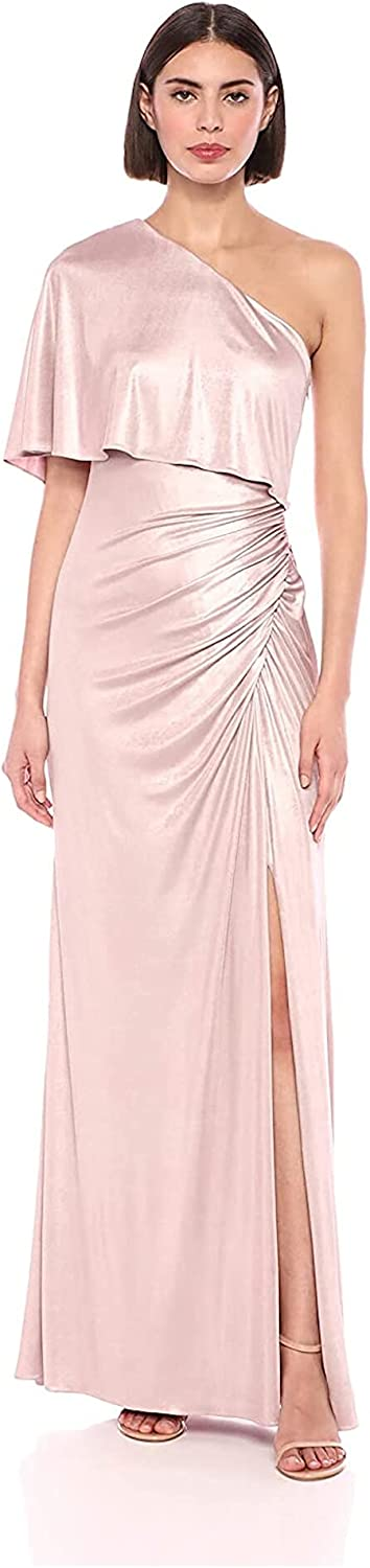 Adrianna Papell Weekly update Women's Draped Gown Metallic Direct stock discount