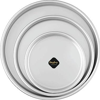 Meqstore Bakeware Aluminium Set of 3 Round Cake Baking Moulds | Cake Tin | Cake Pan for 500-2000 Grams Non Stick (Combo 6,7,8