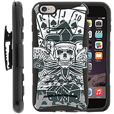 TurtleArmor | Compatible for Apple iPhone 6 Case | iPhone 6s Case [Hyper Shock] Armor Solid Hybrid Kickstand Impact Silicone Holster Belt Clip Sports and Games Design - from TurtleArmor