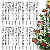BETOY 36pcs Decoración de árbol de Navidad,carámbanos, Transparente,Decoraciones para árboles de Navidad Carámbanos de vidrio transparente Gotas Adornos Brillo Carámbanos de Navidad fiestas de Navidad