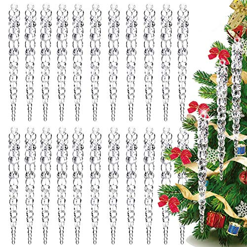 BETOY 36 pcs Icicle Christmas Tree Decorations,Christmas tree icicle, clear, Christmas Tree Ornament Transparent Icicle Ornaments Hanging Pendant for Party Outdoor Christmas Tree Decorations
