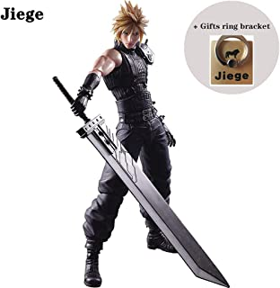 Jiege Final Fantasy Cloud Strife Play Arts Kai Action Figure - Claude Action Figure - Equipped with Weapons and Replaceable Hands - 10.63