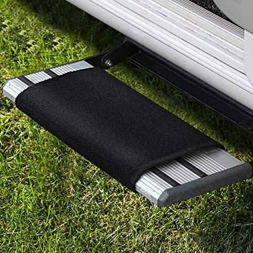 FAIRMO Wohnmobil Trittstufen Fußmatte - Premium Teppich - Zubehör individuell passend - Clean Step Wohnwagen - Camping Matte (Schwarz)