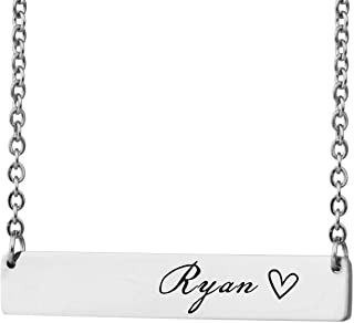 Personalized Bar Custom Name Necklace Personal Womens Jewelry Birthday Gift