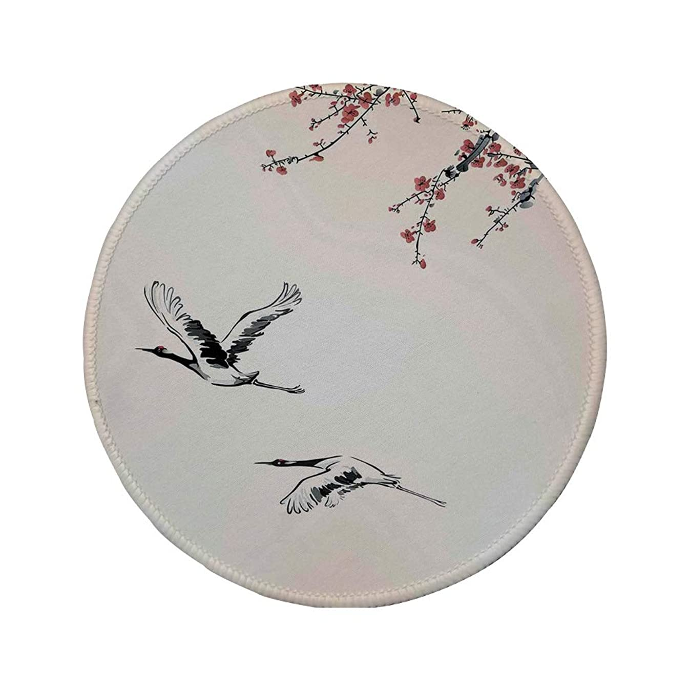 Non-Slip Rubber Round Mouse Pad,Flying Birds Decor,Branches of Japanese Cherry Tree with Flying Swallows in The Air Spring Colors,Red Grey Ecru,11.8