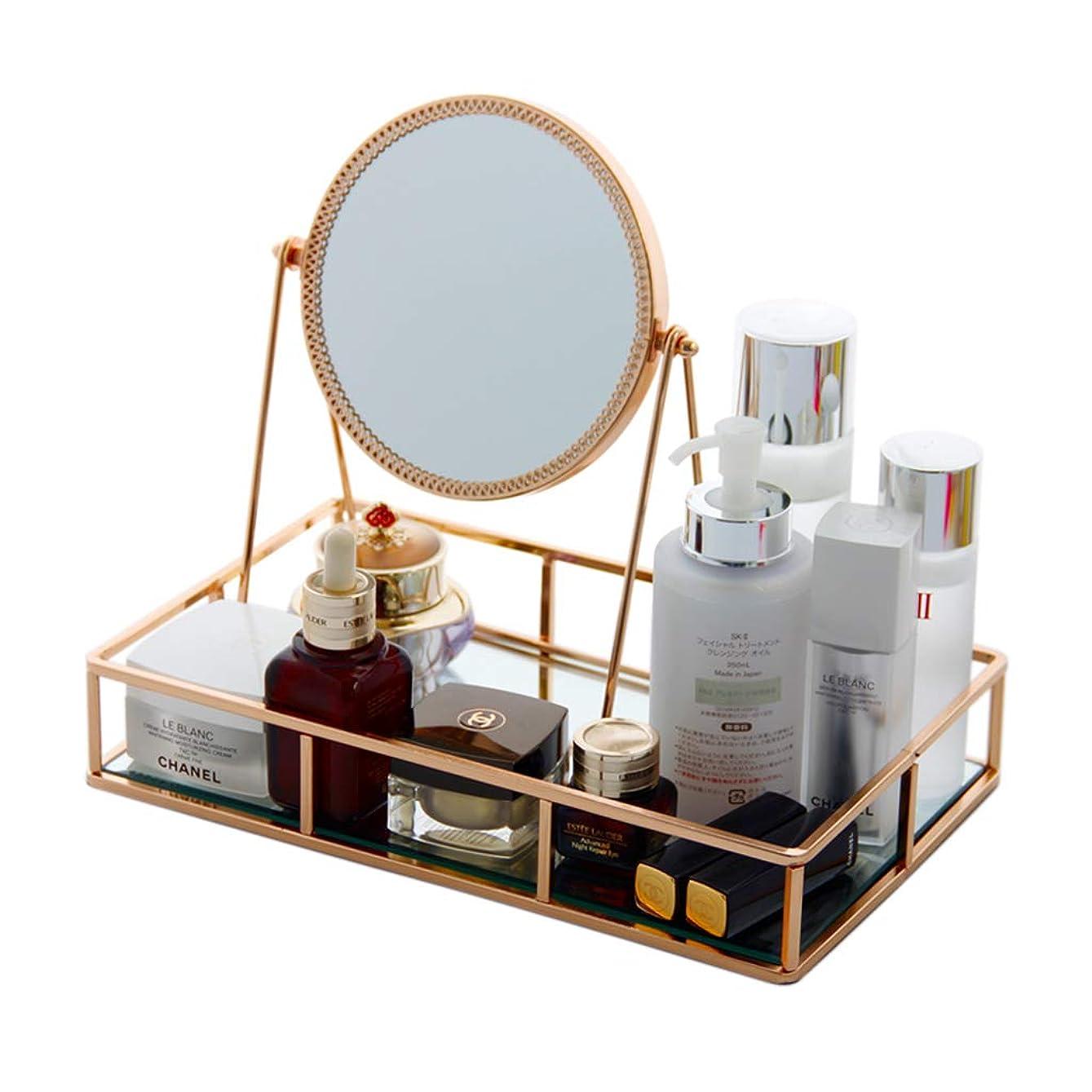 会議マージデータム化粧品収納ボックスシンプルミラーガラス化粧品収納トレイドレッシングテーブルジュエリートレイ表示収納ボックス (Color : GOLD, Size : 30*18.5*25CM)