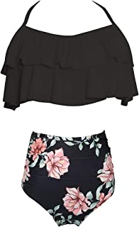 Women Two Pieces Swimsuit Ruffle Swimwear Kids Girls Bikini Bathing Suit Mommy and Me Matching Family Beachwear Sets