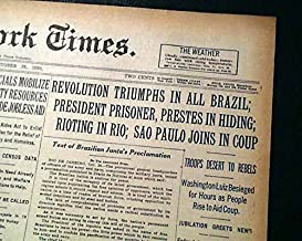 BRAZILIAN REVOLUTION Getúlio Vargas Military Coup & Old Republic 1930 Newspaper THE NEW YORK TIMES, October 25, 1930