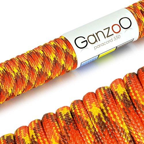 Ganzoo Paracord 550 Seil für Armband, Leine, Halsband, Nylon-Seil 31 Meter, fire
