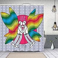 シャワーカーテンスーツを着たゲイの蝶のカップル 防水 目隠し 速乾 高級 ポリエステル生地 遮像 浴室 バスカーテン お風呂カーテン 間仕切りリング付のシャワーカーテン 180 x 180cm