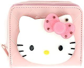 WINGHOUSE x Hello Kitty Zip-Around Bifold Wallet Money Organizer with Front Mirror Coin Purse for Kids Girls