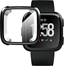 M.G.R.J® Case for Fitbit Versa/Versa SE, Soft TPU Clear Cover for Fitbit Versa/Versa SE Smart Watch with Full Protection (Black)