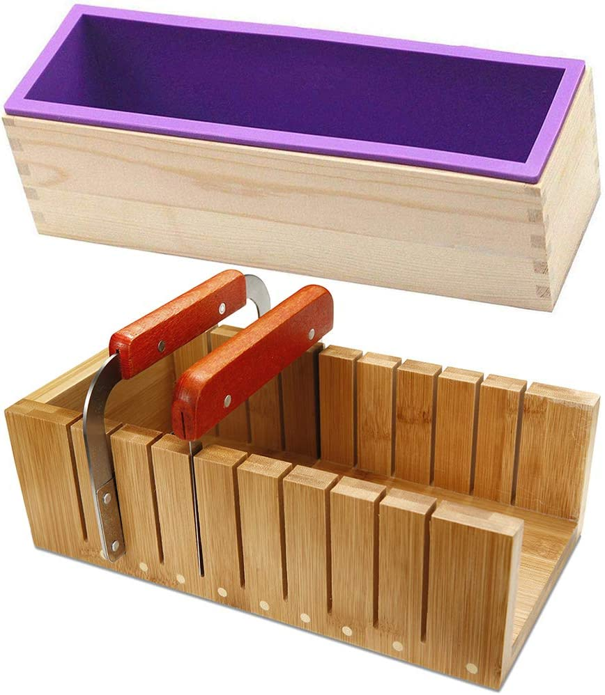 Soap Loaf Making Cutting Molds Kit Box Wood Max 55% Fashion OFF Mold + with Silicone