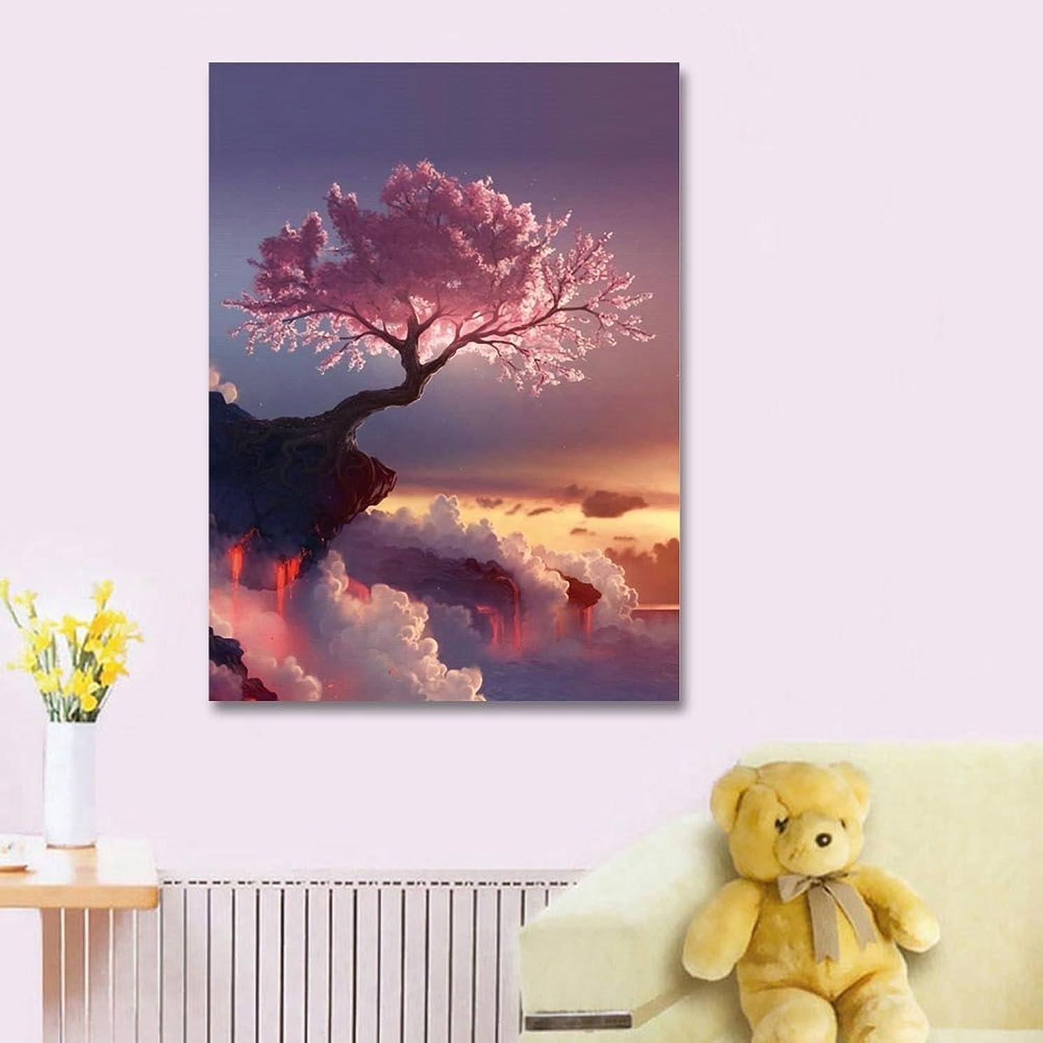 Faraway Cherry Tree 5D DIY Diamond Painting Flower Mosaics Rhinestone Painting for Wall Decor 32x42cm