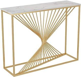 JIAYUAN Mesa Consola Moderna consola de mesa Mesa Pasillo con mármol de mesa Sofá Mesa lateral y muestra aparador contra ...
