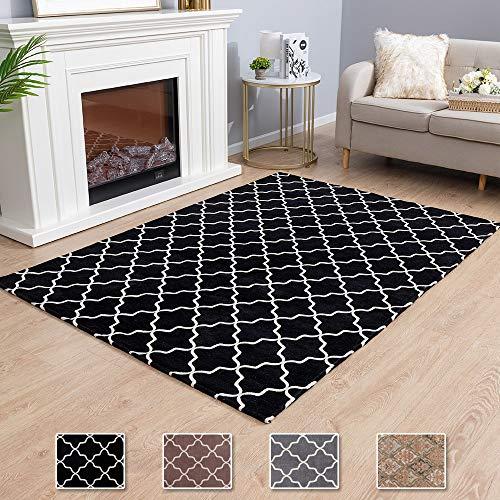 Asrug Moroccan Trellis Non-Slip Area Rug for Living Room Modern Design Carpet Mat for Entry, Patio, High Traffic Areas, Black, 4.6