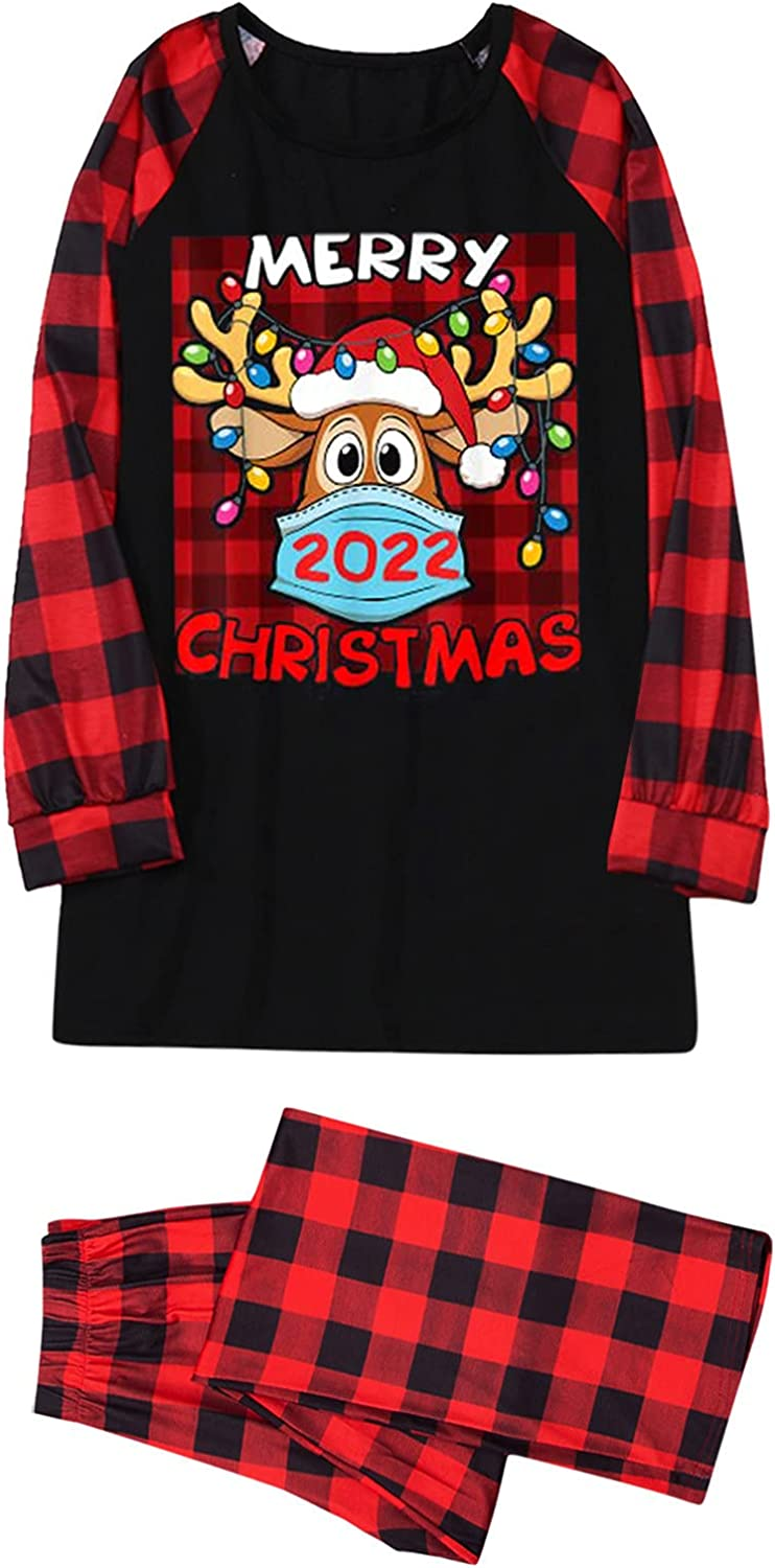 Goldweather Family Matching Pajamas Merry 2022 Christmas Parent-Child Suit Long Sleeve Xmas Pjs Sets Plaid Sleepwear Outfits