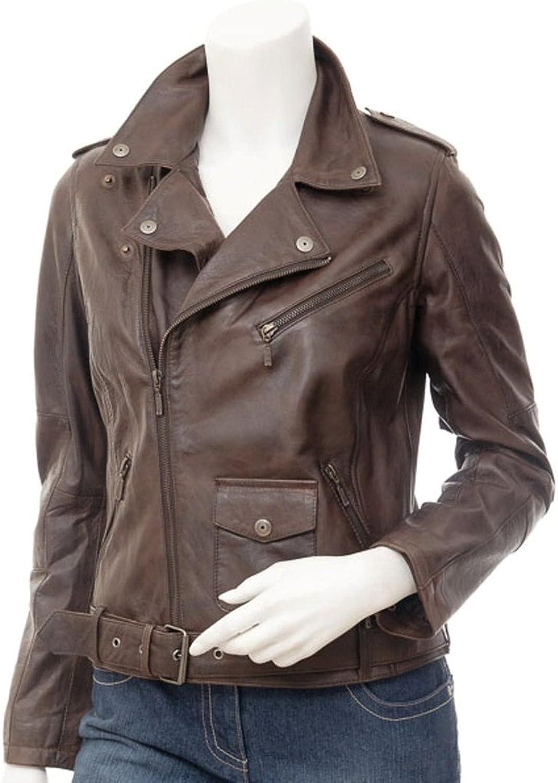 New Womens Genuine Sheep Leather Slim Fit Biker Jacket LFW390