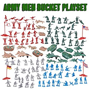 Action Figures Army Men Soldier Bucket Playset with Tanks, Planes, Flags & More!