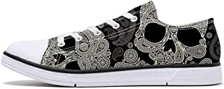 FIRST DANCE Women Men Skull Printed Shoes Cool Paisley Print Fashion Sneakers for Teen Boys Girls Student Canvas Shoes for Ladies