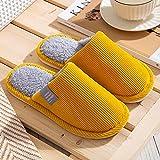 Fuduoduo Hombre y Mujer, Slippers Pantuflas de Interior,Zapatillas de algodón de Pareja cálida de otoño e Invierno-Yellow_38-39#,Zapatilla de Invierno