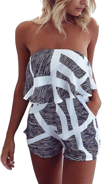 DDSOL Women Sexy Off Shoulder Shorts Romper Strapless Summer Beach Jumpsuit Floral Playsuit