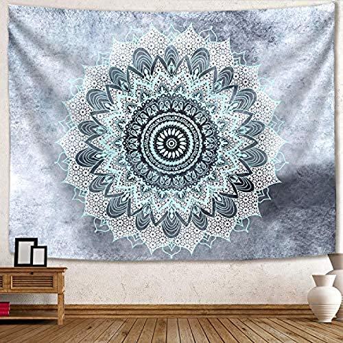 Tapiz de mandala hippie bohemio para colgar en la pared, diseño floral azul